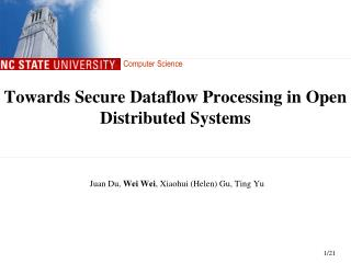Towards Secure Dataflow Processing in Open Distributed Systems