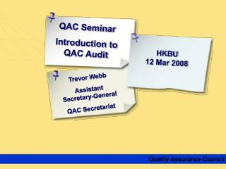 QAC Seminar Introduction to QAC Audit