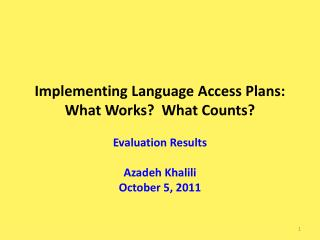 Implementing Language Access Plans: What Works?  What Counts?