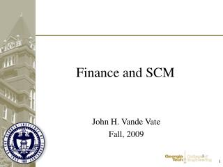 Finance and SCM