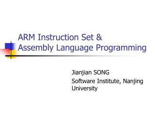 ARM Instruction Set &  Assembly Language Programming