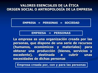 VALORES ESENCIALES DE LA �TICA ORIGEN SOCIAL O ANTROPOLOG�A DE LA EMPRESA