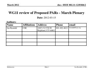 WG11 review of Proposed PARs - March Plenary