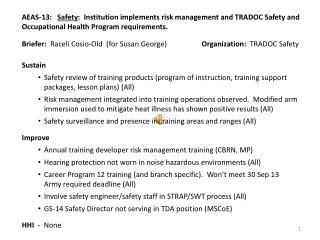 Briefer:   Raceli  Cosio -Old  (for Susan George)                    Organization:   TRADOC Safety