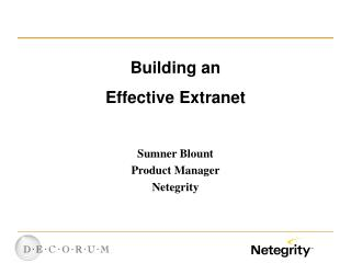 Building an Effective Extranet