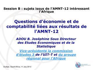 Questions d'économie et de comptabilité liées aux résultats de l'AMNT-12