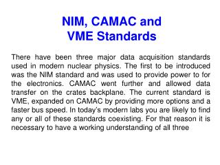 NIM, CAMAC and VME Standards