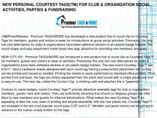 NEW PERSONAL COURTESY TAGS(TM) FOR CLUB & ORGANIZATION
