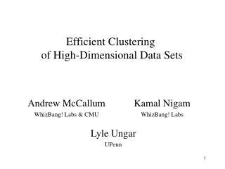 Efficient Clustering  of High-Dimensional Data Sets
