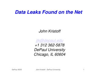 Data Leaks Found on the Net