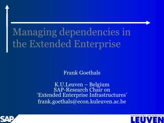 Managing dependencies in the Extended Enterprise