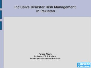 Inclusive Disaster Risk Management  in Pakistan