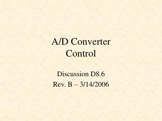 A/D Converter Control