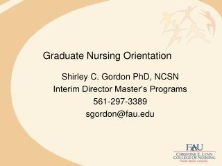 Graduate Nursing Orientation