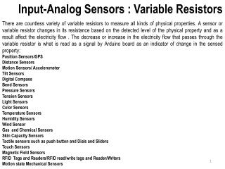 Input-Analog Sensors : Variable Resistors