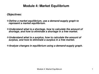 Module 4: Market Equilibrium
