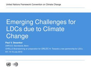 Emerging Challenges for LDCs due to Climate Change