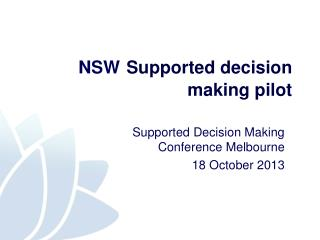 NSW Supported decision making pilot