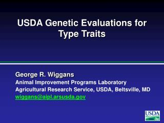 USDA Genetic Evaluations for Type Traits
