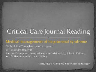 Critical Care Journal Reading