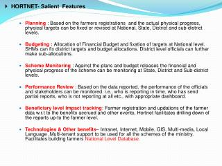 HORTNET- Salient  Features