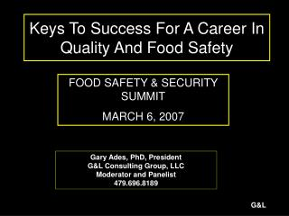 Keys To Success For A Career In Quality And Food Safety