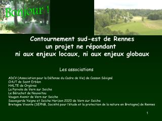Contournement sud-est de Rennes un projet ne répondant