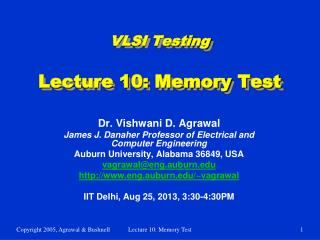 VLSI Testing Lecture 10: Memory Test