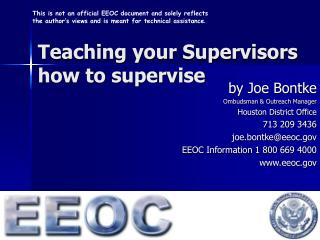 Teaching your Supervisors  how to supervise