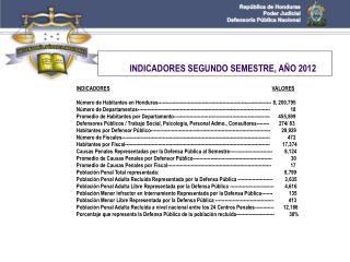 INDICADORES SEGUNDO SEMESTRE, AÑO 2012