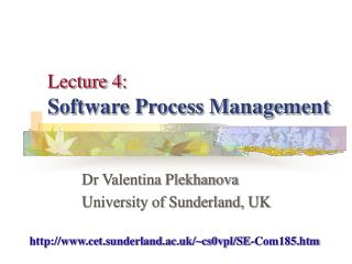 Lecture 4 : Software Process Management