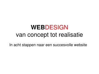 WEB DESIGN van concept tot realisatie