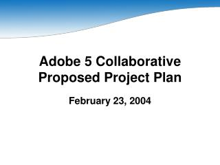 Adobe 5 Collaborative Proposed Project Plan
