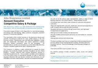 Alba Bioscience Limited Account Executive  Competitive Salary & Package