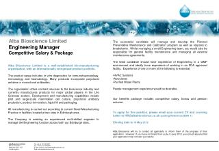 Alba Bioscience Limited Engineering Manager  Competitive Salary & Package