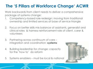 The  '5 Pillars of  Workforce Change' ACWR