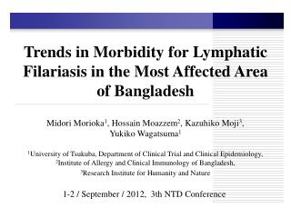 Trends in Morbidity for Lymphatic Filariasis in the Most Affected Area  of Bangladesh