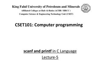 scanf  and  printf  in C Language Lecture-5