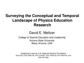 Surveying the Conceptual and Temporal Landscape of Physics Education Research
