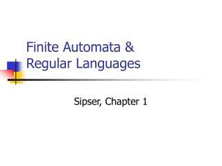 Finite Automata & Regular Languages