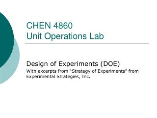 CHEN 4860  Unit Operations Lab