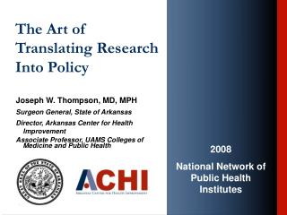 The Art of Translating Research Into Policy