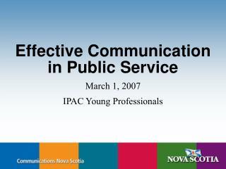 Effective Communication in Public Service
