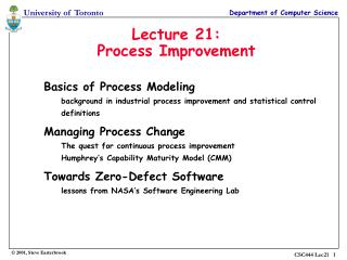 Lecture 21: Process Improvement