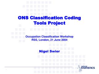 Overview of ONS Coding Tools Project