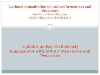 Civil society engagement with ASEAN