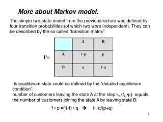 More about Markov model.