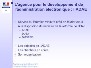 L'agence pour le développement de l'administration électronique : l'ADAE