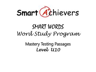 SMART WORDS  Word Study Program