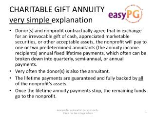CHARITABLE GIFT ANNUITY  very simple  explanation